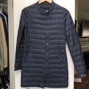 A navy blue Italian warm down jacket